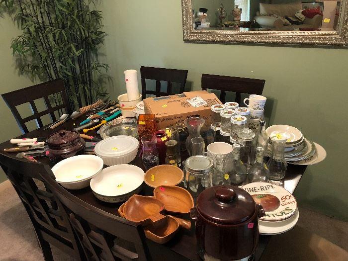 Dishes, cooking utensils, serveware