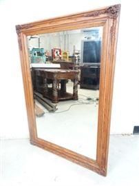 Beveled Glass Wood Frame Wall Mirror