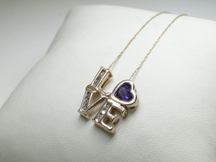 10K Yellow Gold, Diamond Amethyst Heart Necklace