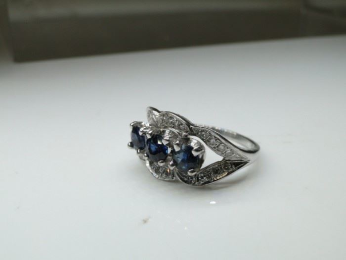 14kt White Gold Ring Feat Sapphires and Diamond