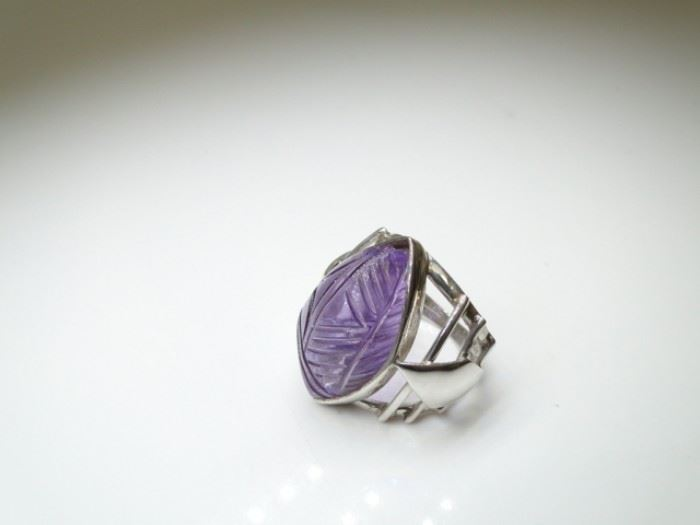 925 Silver and Carved Gemstone Ring, Size 8.5
