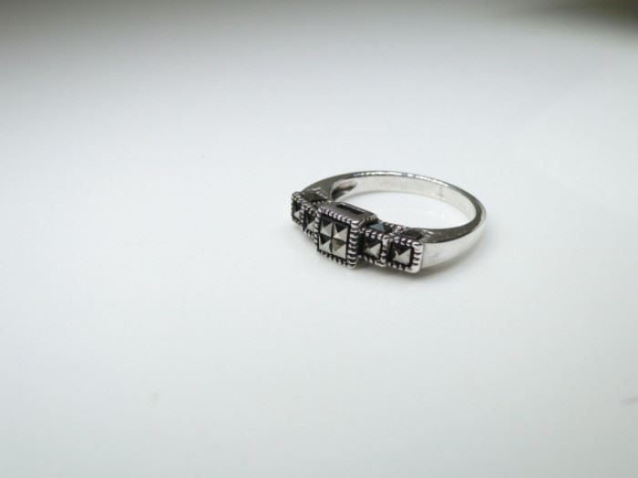 925 Silver Black Onyx Inlay & Marcasite Accented