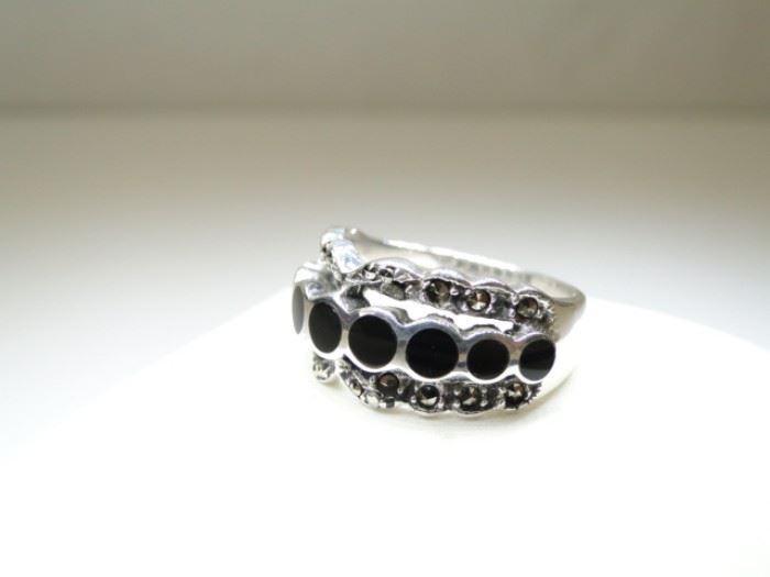 925 Silver Black Onyx Inlay Marcasite Accented