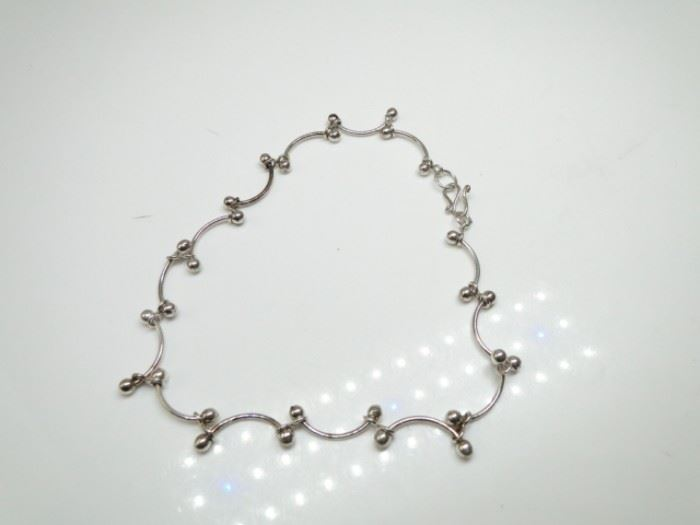 925 Silver Carved Link Bracelet or Anklet 10
