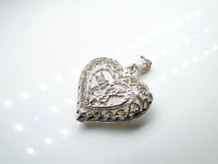 925 Silver Open Filigree Heart Pendant