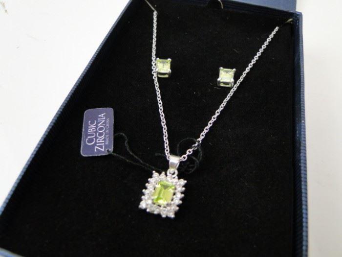 925 Sterling Silver CZ Gemstone Necklace  Earrings