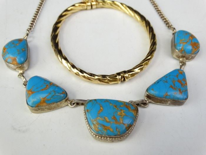Bracelet and Sterling SilverLapis Lazuli Necklace