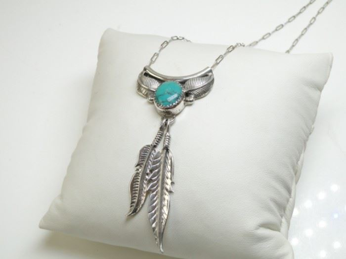 JW Sterling Silver Turquoise Pendant Necklace