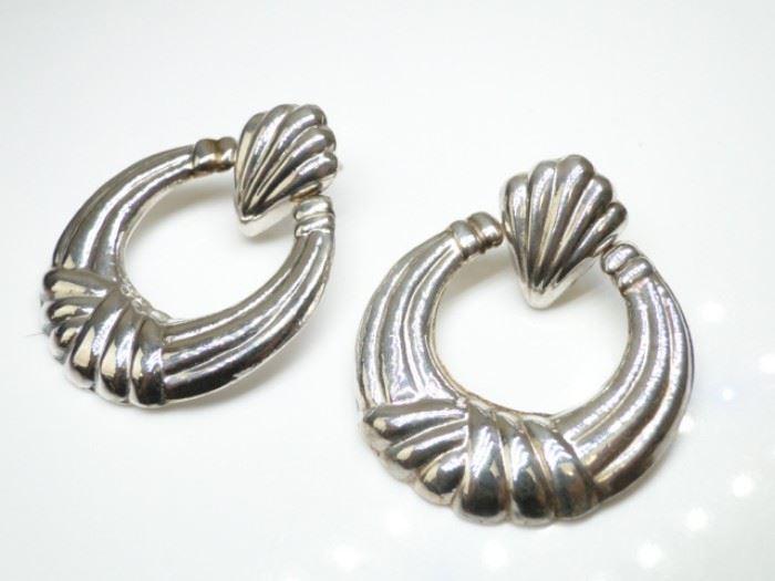 NICE 925 Silver Hoop Seashell Earrings