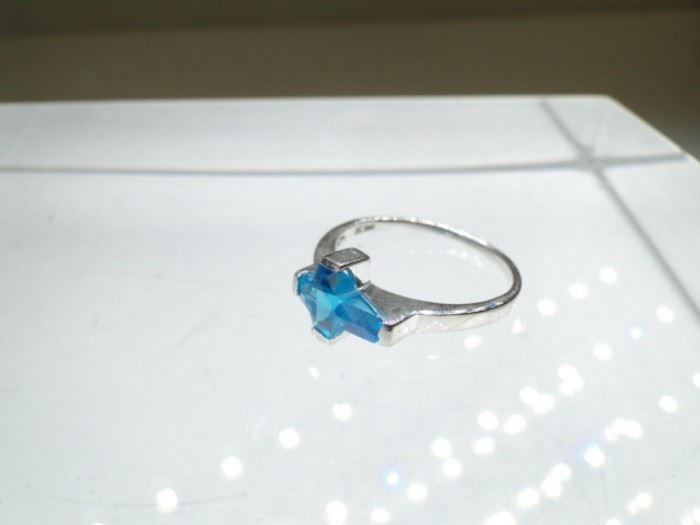 Silver Ring with CrossShaped Aqua Gemstone