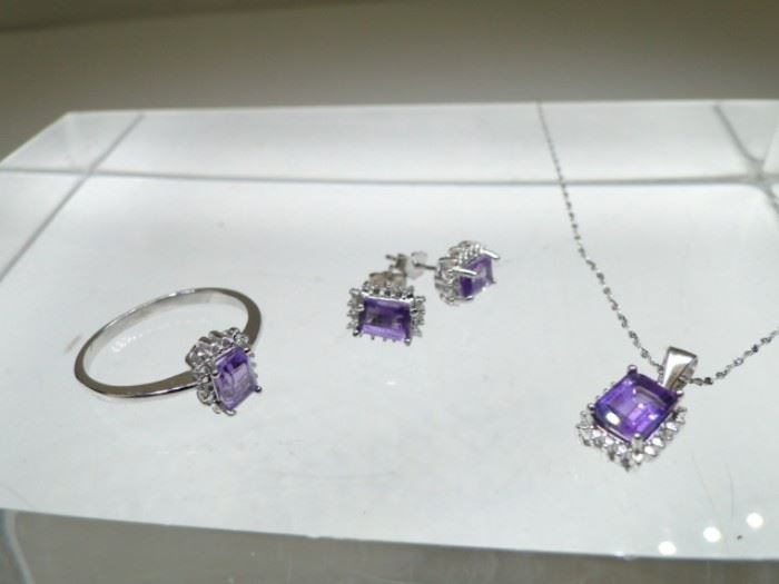 Size 7 Sterling Silver and Purple Amethyst
