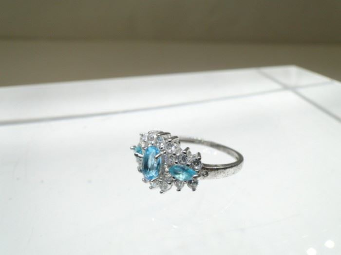 Size 7 Sterling Siver Ring with Trio of Topaz