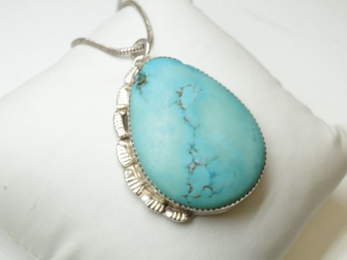 Vintage Sterling Silver and Turquoise Pendant