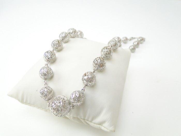 Sterling Silver Vintage Fine Filigree Ball Beads