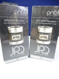 JPQ Portable Aluminum and Denim Speakers (2)