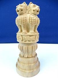 Lion Capital Wood Statue