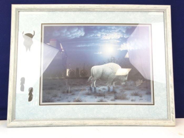 Framed Matted Buffalo Print