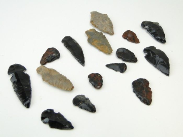 Collection of Various Antique Arrow Heads (15)