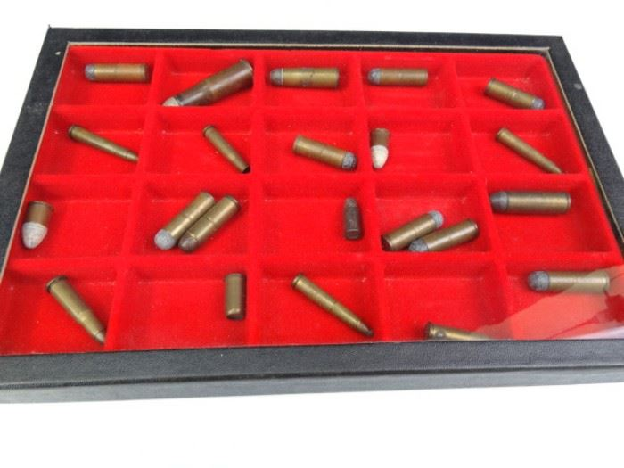 Vintage Bullets in Display Case