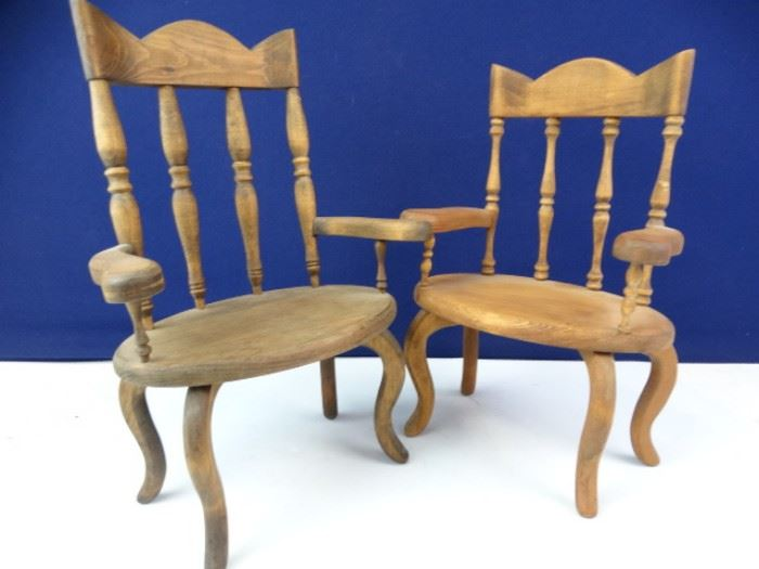 Handcrafted Solid Wood Doll Furniture Chairs (2)
