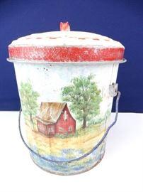 Vintage HandPainted Milk Pail