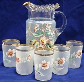 Victorian enamel painted pitcher & tumblers