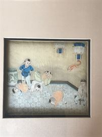 Chinese paintings on silk.  A charming pair of drawings. Ching Dynasty
