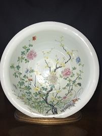 Chinese large Famille rose bowl circa 1780  Purchased from Elinor Gorden,  Sticker on the bottom.