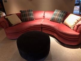 """Century Furniture"" Sectional Sofa. Four pillows included.  Also round storage ottoman in brown microfiber"