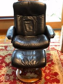 """Stressless"" Brand leather reclining chair and foot stool"