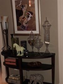 Crate and Barrel Console table, lamp, artwork and assorted accessories.