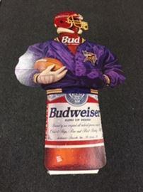 "Football man is a cardboard cutout wearing a MN Viking jacket , 6' tall X 3'5"" wide."