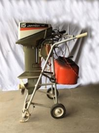 Johnson 15 HP outboard boat motor with gas can