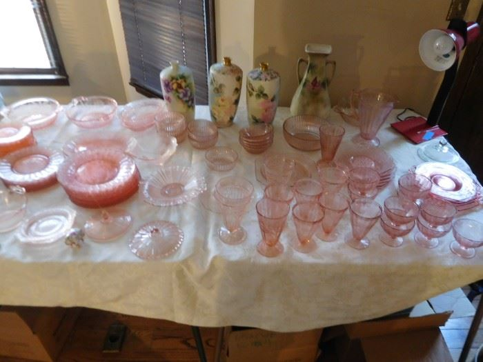 pink  depression  glass,painted  vases
