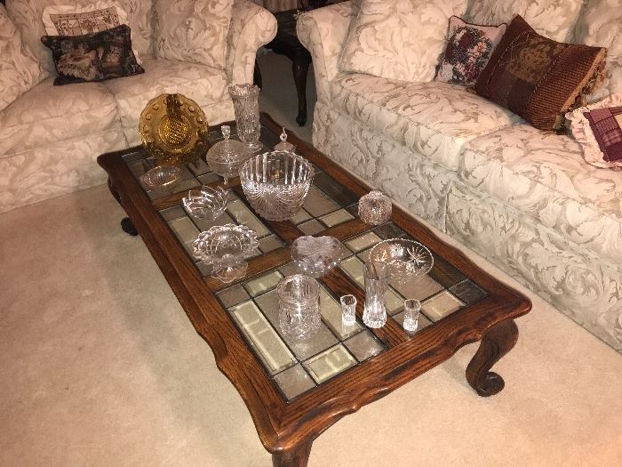 Crystal, vintage pressed glass and amazing stain glass table set
