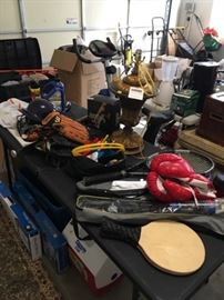 Garage full of tools and miscellaneous items.  Foosball table, ping pong table, sports equipment including boxing gloves, baseball bats and gloves and balls.  GE deep freezer, 16' cubic capacity.