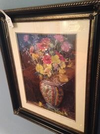 Framed art of blue & white vase with flowers