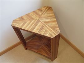 Inlaid wood occasional table.   Very interesting.