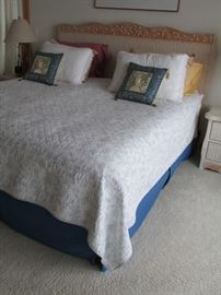 King size bed, headboard and frame.