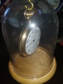 Gold pocket watch in display case