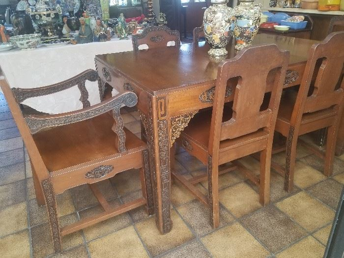 AMAZING hand carved Asian table and chairs