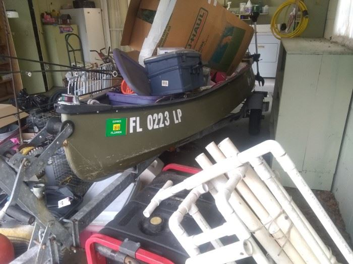 Boat with outboard motor and trolling motor and trailer $1800.00