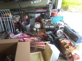 Loads of tools, camping supplies and manly things