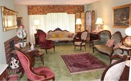 Living Room full of antique and reproduction Victorian furniture