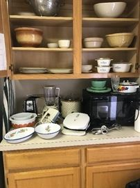 Microwave, small appliances, Fireking and enamelware