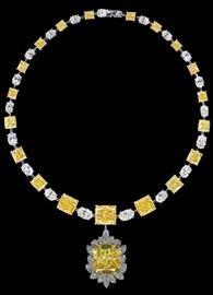LOT878 Fancy Yellow Diamond NecklaceGIA