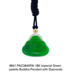 LOT 9641 Imperial Green Jadeite Buddha Pendant with Diamonds