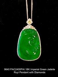 LOT 9640 Imperial Green Jadeite Bean Pendant