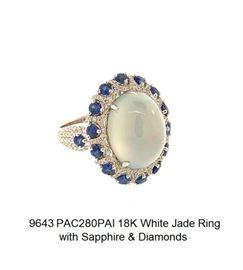 LOT 9643 White Jade Ring with Sapphire  Diamonds