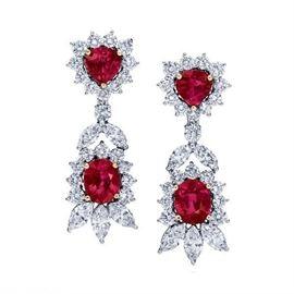 LOT487 Burmese Ruby  Diamond Earrings